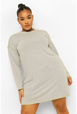 Grey Plus T-Shirt Jurk Met Naad Details