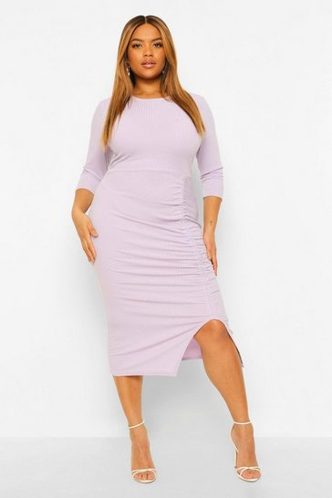 Lilac purple Plus Soft Rib Side Ruched Midi Dress