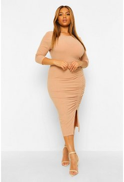 Plus Soft Rib Side Ruched Midi Dress, Stone beige