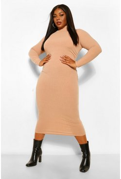 Stone beige Plus Soft RIb High Neck Gathered Midi
