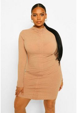 Beige Plus Soft Rib High Neck Ruched Bodycon Dress