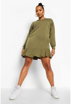 Khaki Plus Loopback Sweatshirt Jurk Met Ruches