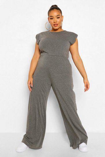 Petrol grey Plus Jersey Shoulder Pad Wide Leg Jumpsuit