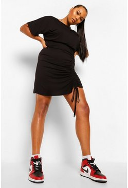 Black Plus Ruched Front Batwing Bodycon Dress