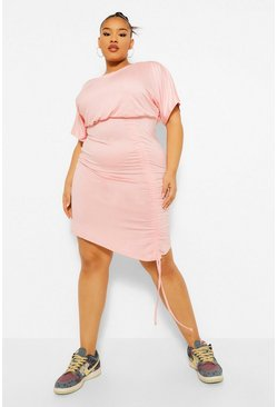 Blush pink Plus Ruched Front Batwing Bodycon Dress