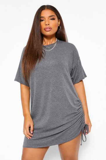 Petrol grey Plus Jersey Side Ruched T-Shirt Dress