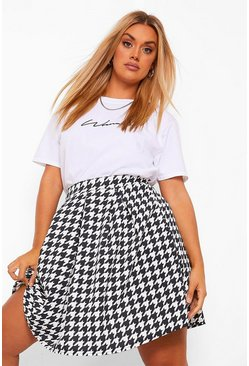 Black Plus Geruite Dogtooth Skater Rok