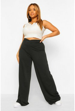 Black Plus Cross Front Waistband Wide Leg Jogger