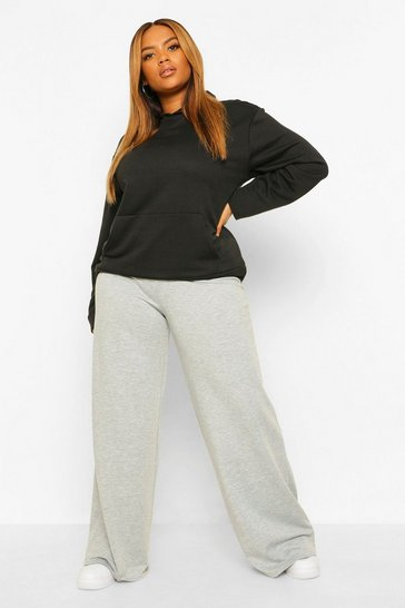 Grey Marl Plus Cross Front Waistband Wide Leg Jogger