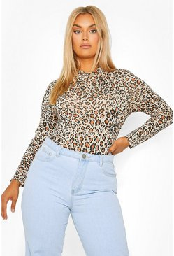 Brown Plus Leopard High Neck Top
