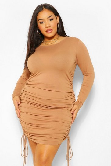 Camel beige Plus Side Ruched bodycon Dress