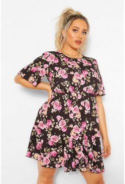 Black Plus Floral Tiered Crepe Smock Dress