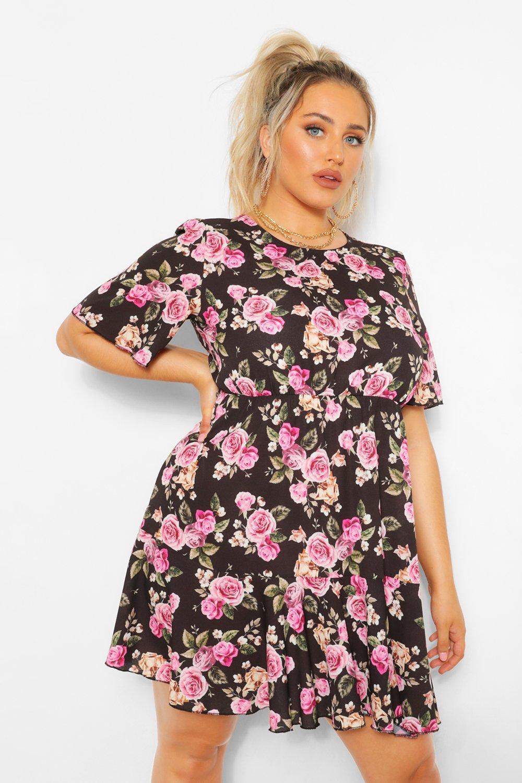 Plus Floral Tiered Crepe Smock Dress 8