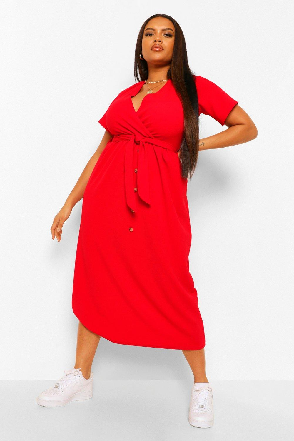 Plus Belted Button Down Midi Dress 15