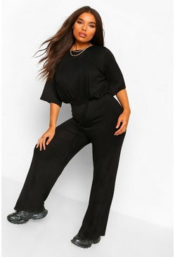 Black Plus Slouchy Self Belted Jumpsuit