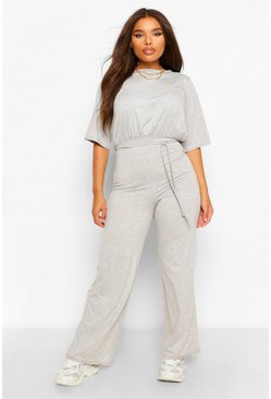 Grey Plus Slouchy Self Belted Jumpsuit