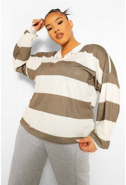 Khaki Plus Wide Stripe Rugby T-Shirt