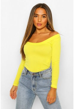 Chartreuse yellow Petite Ribbed Scoop Neck Bodysuit