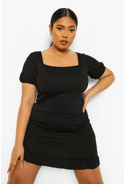 Black Plus Square Neck Puff Sleeve Mini Dress