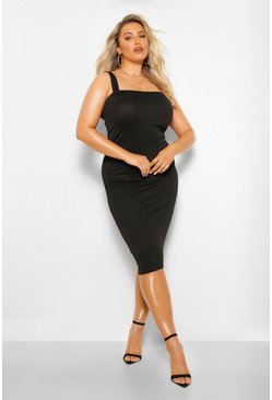 Black Plus Square Neck Midi Dress