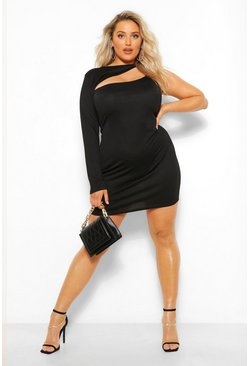 Black Plus Cut Out Mini Bodycon Dress