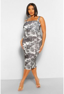 Black Plus Marble Print Square Neck Midi Dress