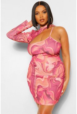 Wine red Plus Marble Print Cut Out Mini Dress