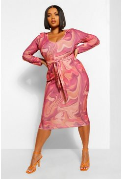 Wine red Plus Marble Print Tie Front Midi Dress