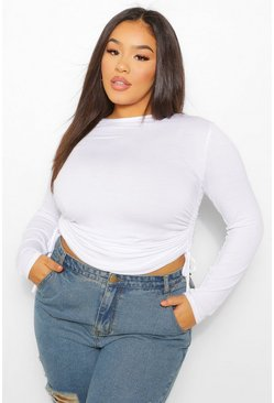 White Plus Long Sleeve Ruched Side T-Shirt