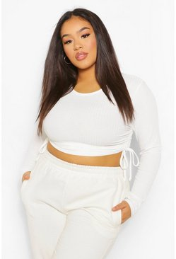 White Plus Soft Rib Ruched Side Crop Top
