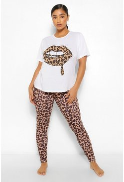 Brown Plus Leopard Lips Lounge Set