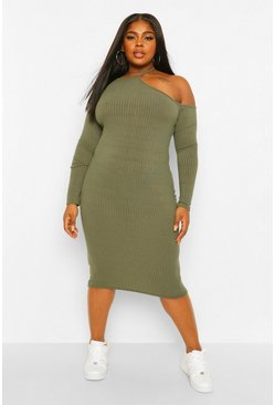 Khaki Plus Rib Cut Out Shoulder Midi Dress
