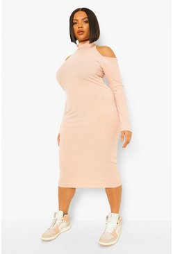 Nude Plus Rib Cut Out High Neck Midi Dress