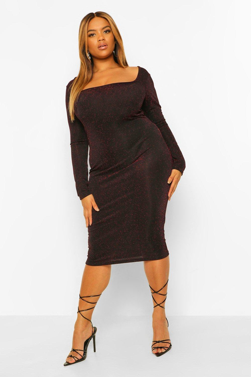 Plus Glitter Square Neck Midi Dress 20