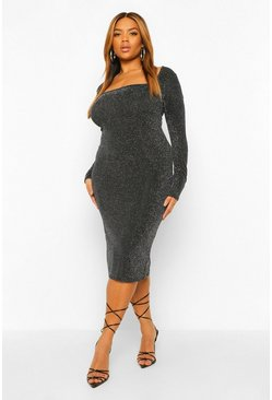 Silver Plus Glitter Square Neck Midi Dress