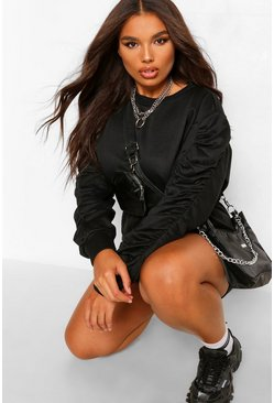 Black Plus Ruched Sleeve Sweat Lounge Playsuit