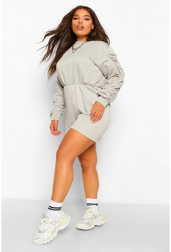 Sage green Plus Ruched Sleeve Sweat Lounge Playsuit