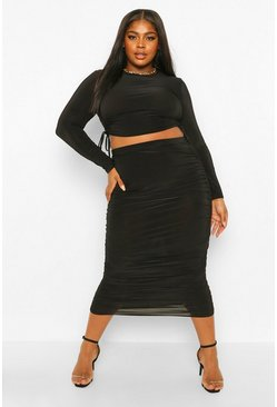 Black Plus Slinky Ruched Side Top and Midi Skirt Co- Ord