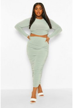 Sage green Plus Slinky Ruched Side Top and Midi Skirt Co- Ord