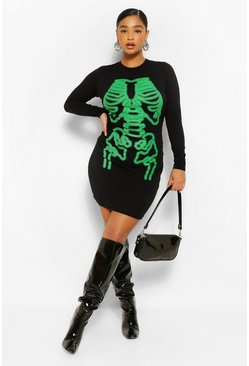 Black Plus Halloween Neon Skeleton Bodycon Dress