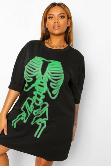 Black Plus Halloween Neon Skeleton T-Shirt Dress