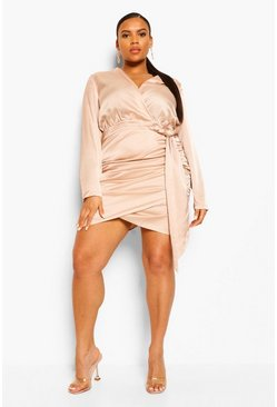 Champagne beige Plus Satin Wrap Ruched Bodycon Dress