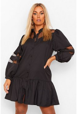 Black Plus Organza Contrast Shirt Dress