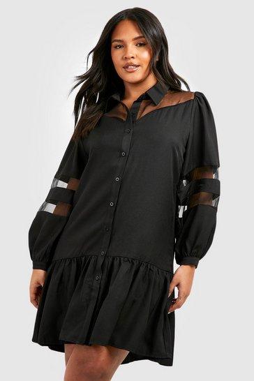 Black Plus Organza Contrast Shirt Dress