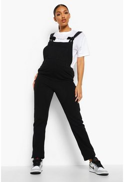 Maternity Black Tie Strap Dungarees