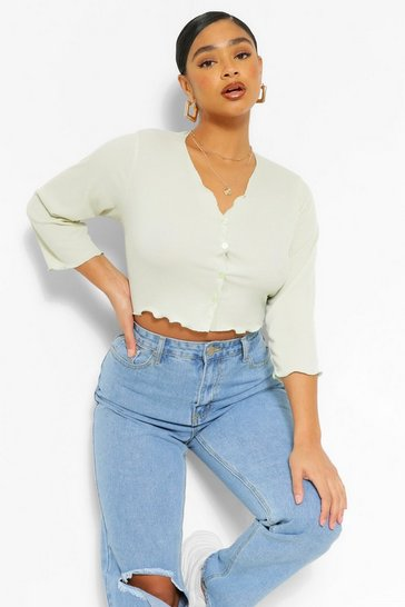 Sage green Plus Lettuce Button Front Rib