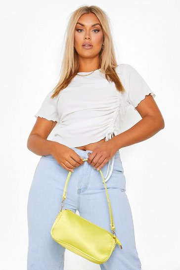 White Plus Lettuce Hem Ruched T-Shirt