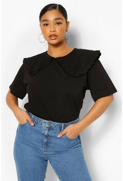 Black Plus Frill Collar Cotton T-Shirt