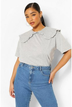 Grey Plus Frill Collar Cotton T-Shirt