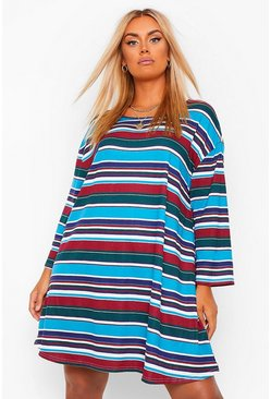 Wine red Plus Stripe Oversized Swing T-Shirt Dress
